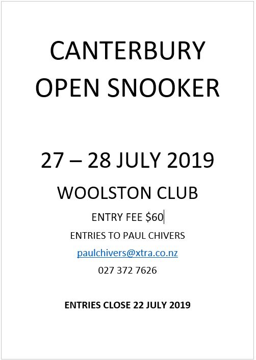 canterbury open snooker 2019