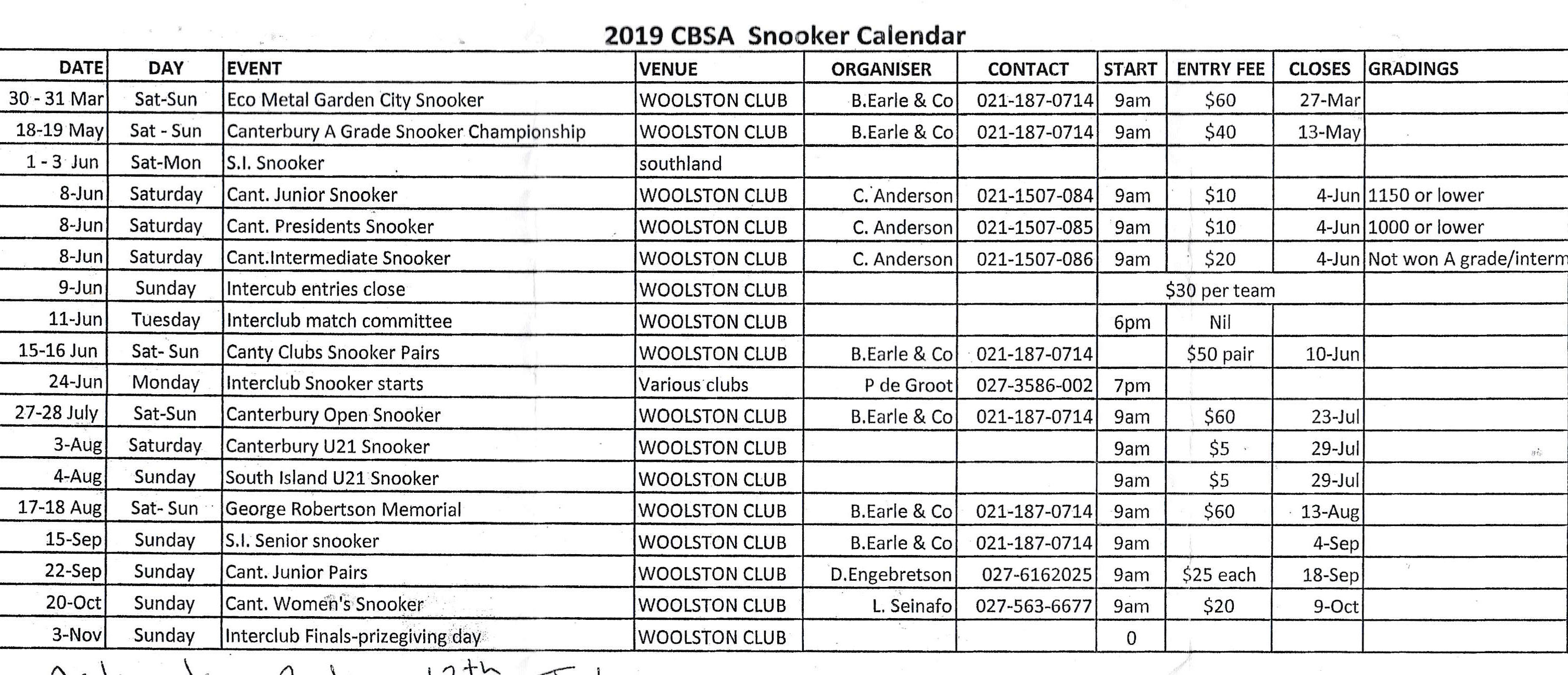 Snooker Kalender